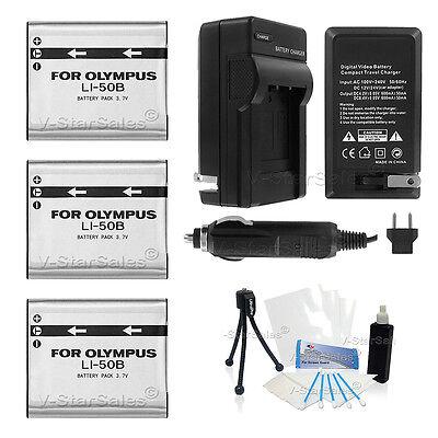 3x LI-50B Battery + Charger for Olympus SP-720UZ SP-800UZ SP-810UZ