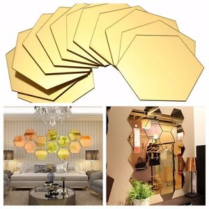12x 3D Mirror Hexagon Removable Vinyl Wall Sticker Decal Home Decor Art DIY
