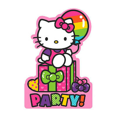 Hello Kitty Birthday Party Invitations - 8 Hello Kitty Rainbow Birthday Party Invitations Invites plus Envelopes