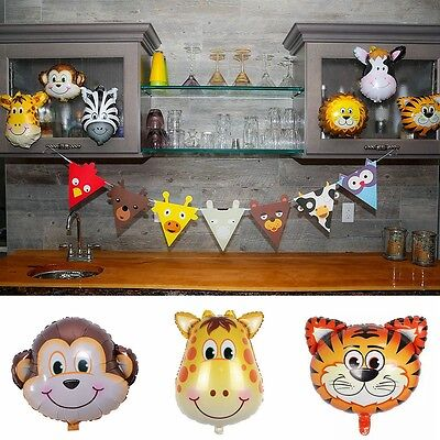 5pcs/Set Animal Head Shape Foil Balloon Birthday Wedding Party Baby Shower Decor (Animal Shaped Balloons)