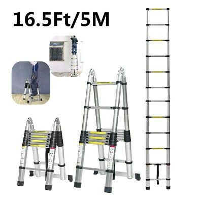 16.5ft Folding Aluminum Telescopic Extension Ladder Multi-use Non-