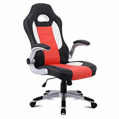 Pu Leather Executive Racing Style Bucket Seat Chair Sporty Office Desk Chair New