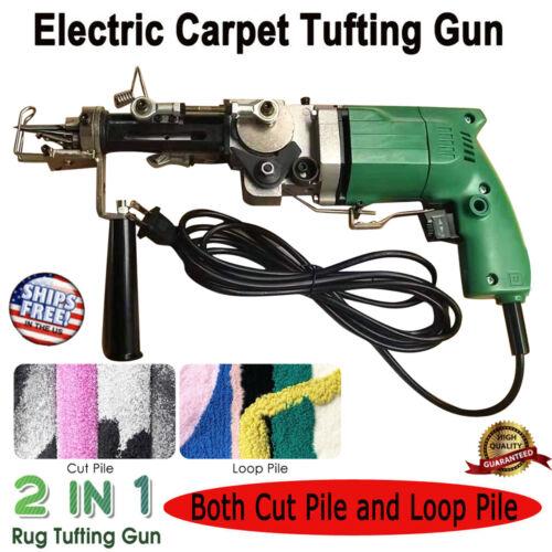 Electric Carpet Hand Tufting Gun Cut Pile/Loop Pile Weaving Flocking Machine Kit