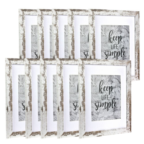 """11""""x14"""" Wood Picture frame Set with Mat 8"""" x 10"""" Photo Frames Wall Hanging Decor"""