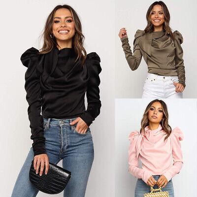 USA Fashion Women Satin Blouses Bow Neck Long Sleeve Elegant Blouse Shirt (Satin Long Sleeve)