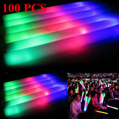 100PCS Light Up Foam Glow Sticks LED Wands Rally Rave Batons DJ Flashing Sticks (Foam Sticks)