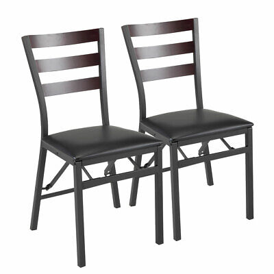 Set of 2  Metal frame Upholstered Dining chair PU leather Folding leisure chairs Metal Set Folding Chair