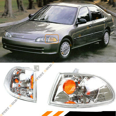 Honda Civic 4 Door Corner - FOR 92-95 HONDA CIVIC 4 DOOR SEDAN CORNER LAMP SIGNAL LIGHT CLEAR W/ AMBER BULB