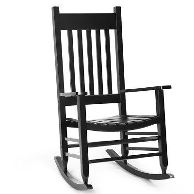 Solid Wood Rocking Chair Porch Rocker Indoor Outdoor Deck Patio Backyard Black ()