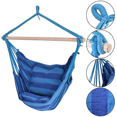 Blue Deluxe Hammock Rope Chair Patio Porch Yard Tree Hanging Air Swing Outdoor