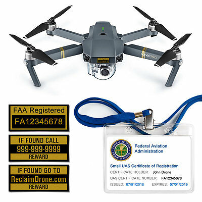 Drone FAA UAS Certificate of Registration ID Card + Label set - Hobbyist Pilots