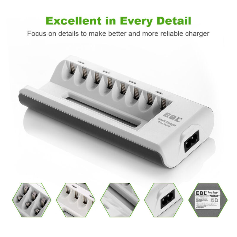 Battery Charger Universal for AA AAA NI-MH NI-CD Rechargeable Batteries 8 Slot