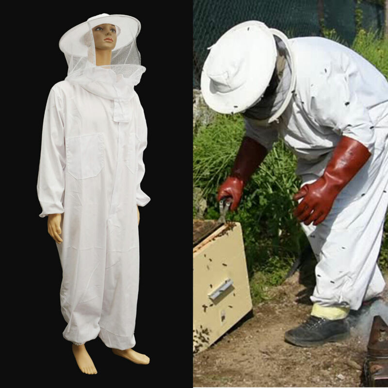 XXL Professional Cotton Full Body Beekeeping Bee Keeping Suit w/ Veil Hood
