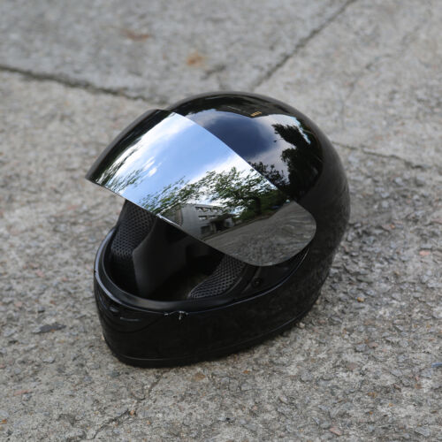 Motorcycle Mirror Shield Gloss Black Full Face DOT Adult Helmet Size M~XL HOT