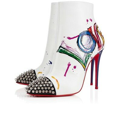 NIB Christian Louboutin Love Is A Boot 100 White Red Spike Heel Ankle Bootie 35