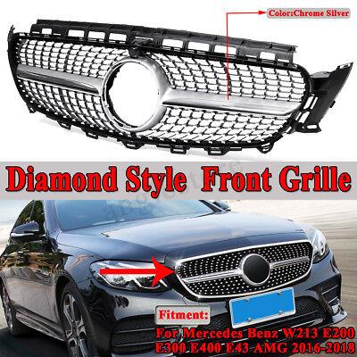 Kühlergrill Grill Diamant Stil Chrom Silber für Benz W213 E200 E43 AMG  !