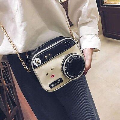 Women PU Leather Camera Shape Bag Small Cute Long Clutch Handbag Messenger Bag