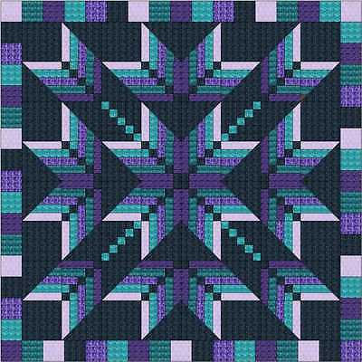Easy Quilt Kit/Exploding Star Purple/Aqua/3D/Pre-cut Fabrics Ready To Sew/