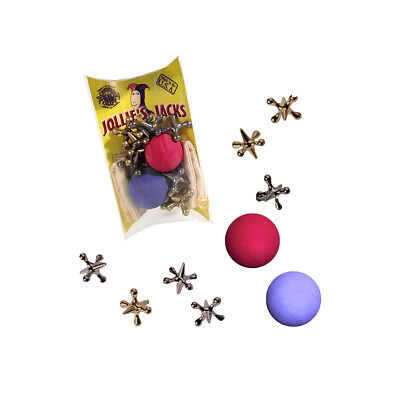 Classic Game of Jacks 2 balls Set 10 metal jax and rubber ball retro jack pouch