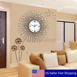 60CM Scenic Iron Art Metal Living Room Round Diamond Wall Clock Home House  T