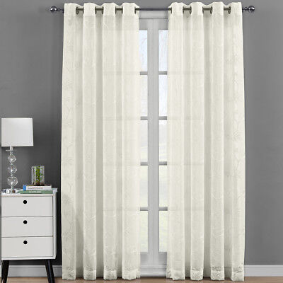 Luxury Andora  Embroidered Panels Grommet Top Sheer Window Curtain Set of -