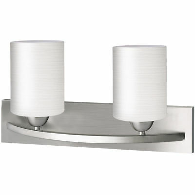 2 Light Glass Wall Mounted Satin Nickel Sconce Mirror Fixture Vanity Hallway New - Nickel Wall Mounted Mirror