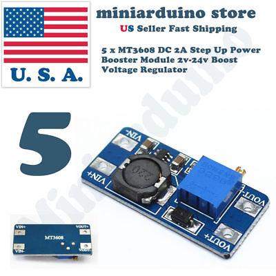 5pcs Mt3608 Dc 2a Step Up Power Booster Module 2v-24v Boost Converter Arduino Us