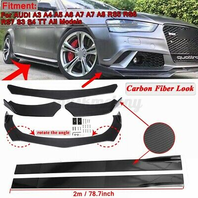 Carbon Fiber Front Bumper Lip Spoiler Chin Splitter +78.7'' Side Skirts For AUDI