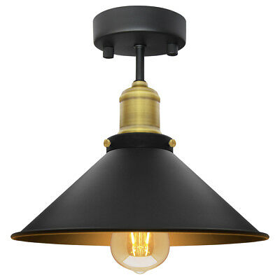 Modern Vintage Industrial Flush Mount Brass Black Scone Ceiling Light Shade M010