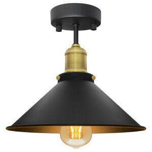 Brass flush ceiling light ebay modern vintage industrial flush mount brass black scone ceiling light shade m010 mozeypictures Images