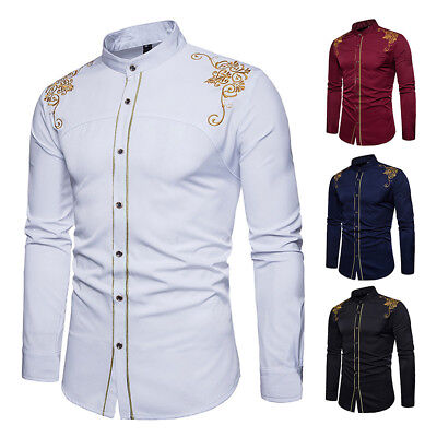 - Men's Slim Fit Long Sleeve Cotton Shirt Retro Style Casual Business Dress Shirts