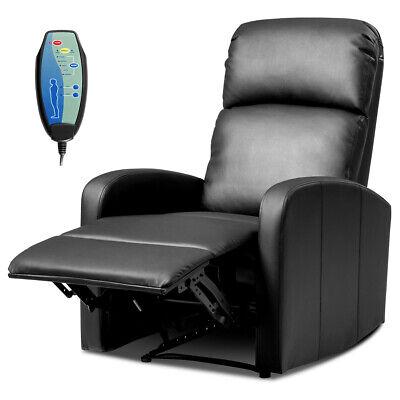 Massage Rocker Recliner Chair PU Leather Single Sofa Heavy Padded Seat