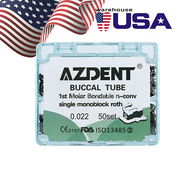 50 Sets Dental Orthodontic Buccal Tubes 1st Molar Bondable Inblock N-conv Azdent