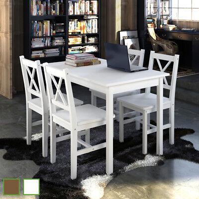 Holz Esszimmer Tisch Stühle (vidaXL Essgruppe Holztisch Esstisch Esszimmer Esstischset 4 Stühle Braun/Weiß)