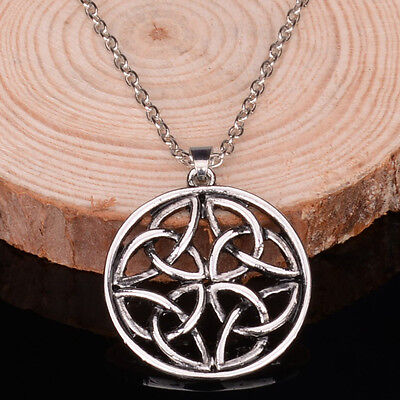 New Vintage Celtic-Knot Silver Plated Chain Pendant Necklace Charms Jewelry Gift Celtic Silver Plated Necklace