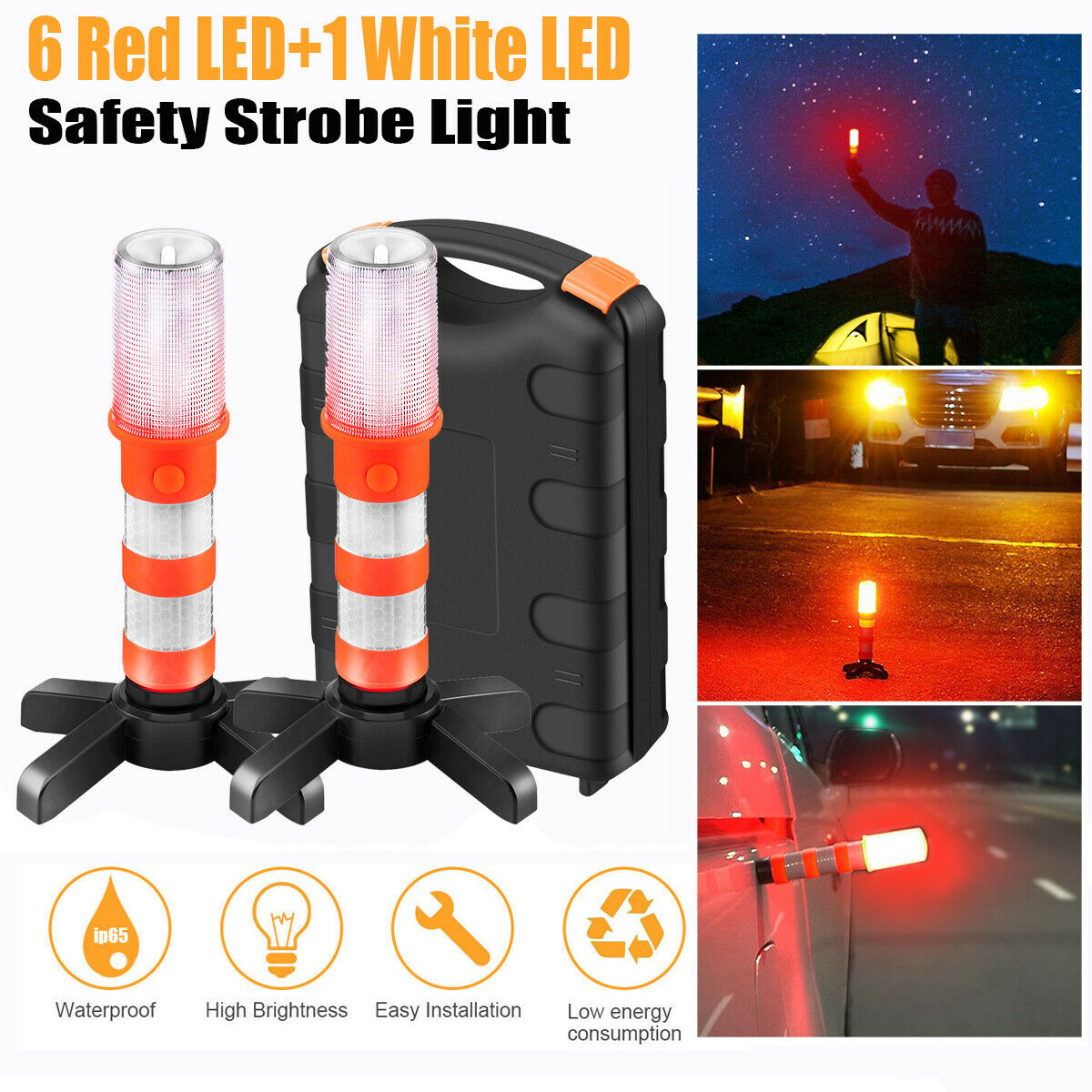2Pcs LED Emergency Hazard Warning Safety Flare Roadside Light Strobe Beacon