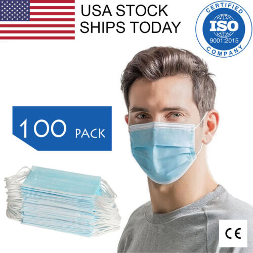 100 PCS Face Mask 3-Ply Earloop Surgical Dental Disposable. CE Certified