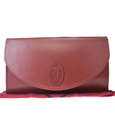 Authentic Must De Cartier 2C Logos Clutch Hand Bag Leather Bordeaux 02EX729