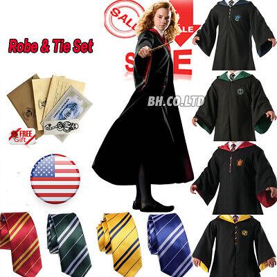 Black Robe Halloween Costume (Harry Potter Cosplay Costume Robe Cloak Hogwarts Adult Kids for Halloween)