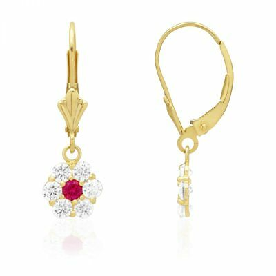 Created Diamond And Real Ruby Flower Dangle Leverback Earrings 14k Yellow Gold Created Ruby Leverback Earrings