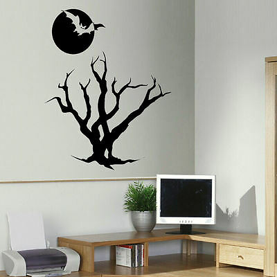 Large Halloween Bat Stencil (LARGE HALLOWEEN BAT TREE MOON WALL ART STICKER TRANSFER STENCIL VINYL)