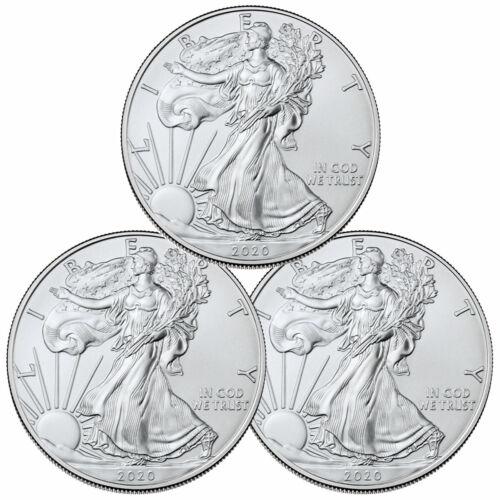 Lot of 3 2020 1 oz American Silver Eagle $1 Coins GEM BU SKU59437