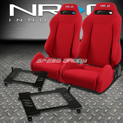 - NRG TYPE-R RED RECLINABLE RACING SEATS+BRACKET FOR 90-93 ACURA INTEGRA DA9 DB1