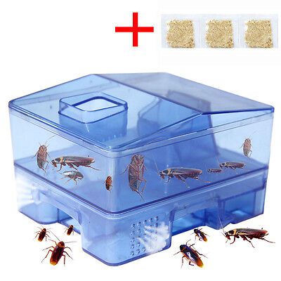 3 Doors Pest Control Tool Cockroach Trap Container Collect & Killer Catcher