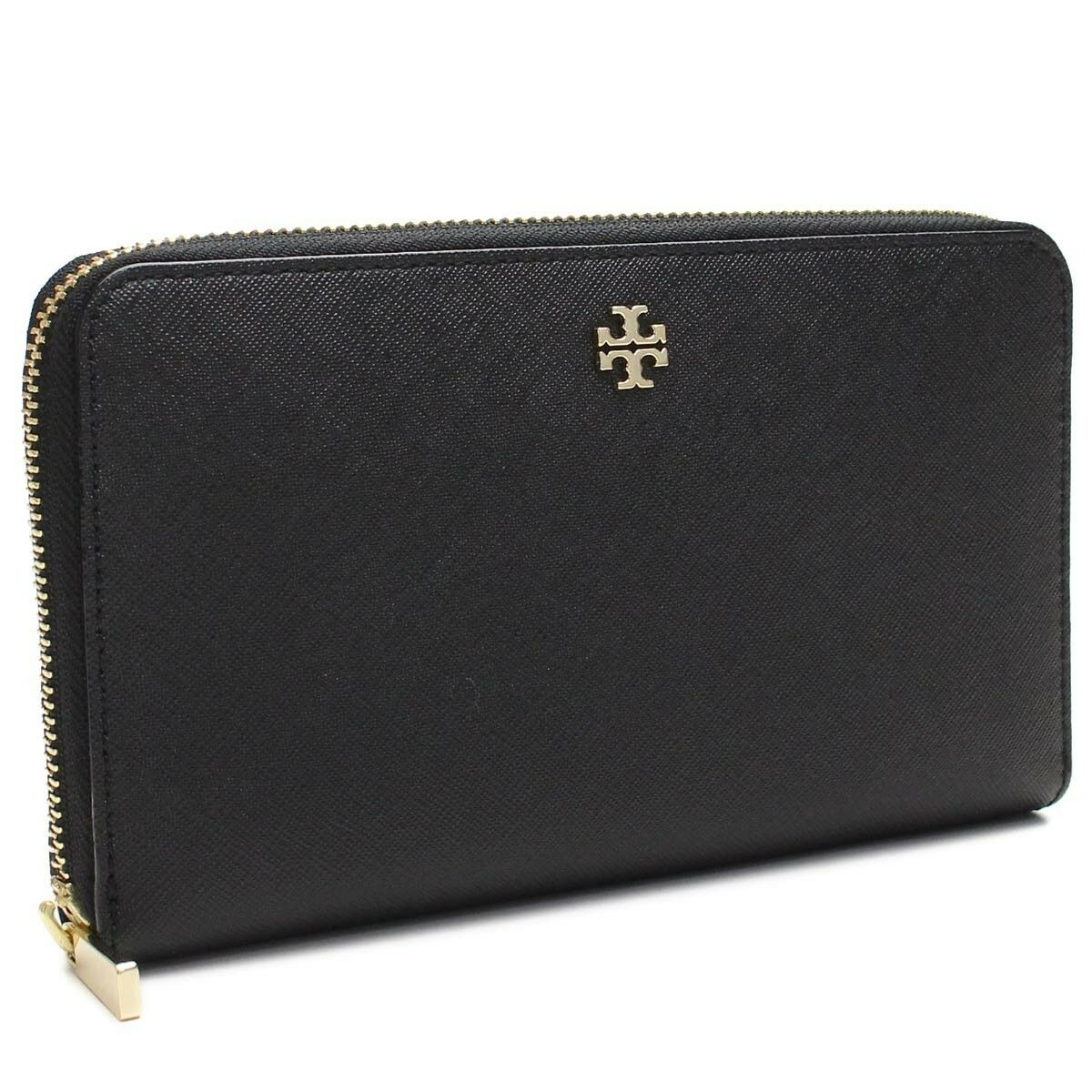 Tory Burch ROBINSON Black Saffiano Zip Around Continental Wallet 33650 NEW