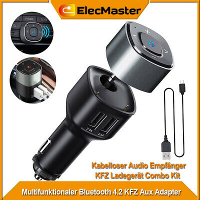 KFZ Bluetooth Empfänger Wireless Receiver USB Auto Ladegerät Adapter Audio Aux (Auto Usb-audio)