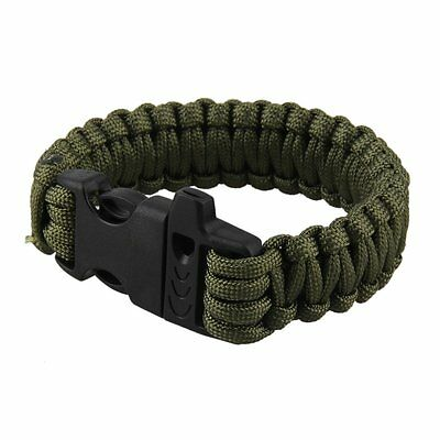 Army Green Survival Bracelet Outdoor Paracord Scraper Whistle Gear Kits Cool
