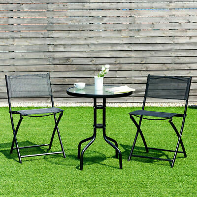 3 Piece Bistro Set Table Folding Chairs Garden Backyard Patio Outdoor Furniture Metal Bistro Set