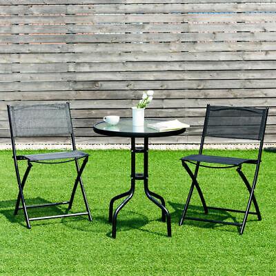 3 Piece Bistro Set Table Folding Chairs Garden Backyard Pati