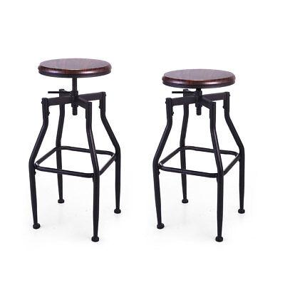 Set of 2 Swivel Bar Stool Adjustable Wood Metal Design Bistro Chair Industrial (Swivel Bar Stool Set)